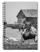 Old Lady And Children On The Lake  Spiral Notebook