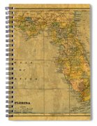 Old Map Of Florida Vintage Circa 1893 On Worn Distressed Parchment Spiral Notebook