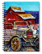 Old Model T Car Red Barns Canadian Winter Landscapes Outdoor Hockey Rink Paintings Carole Spandau Spiral Notebook