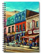 Old Montreal Schwartzs Deli Plateau Montreal City Scenes Spiral Notebook