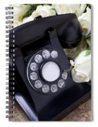 Old Phone And White Roses Spiral Notebook