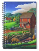 Old Red Appalachian Grist Mill Rural Landscape - Square Format  Spiral Notebook