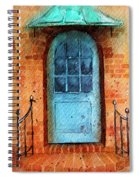 Old Service Station With Blue Door Spiral Notebook