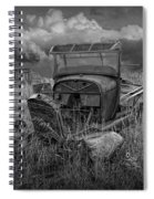 Old Truck Abandoned In The Grass In Black And White At The Ghost Town By Okaton South Dakota Spiral Notebook