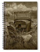 Old Truck Abandoned In The Grass In Sepia Tone Spiral Notebook