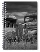 Old Vintage Pickup In Black And White By An Abandoned Farm House Spiral Notebook