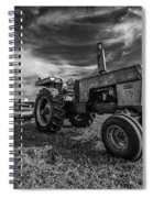Old White Tractor In The Field Spiral Notebook