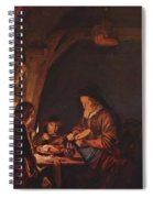 Old Woman Cutting Bread Spiral Notebook
