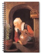Old Woman Watering Flowers 1665 Spiral Notebook