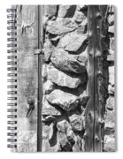Old Wood Door Window And Stone In Black And White Spiral Notebook