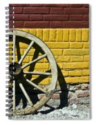 Old Wooden Wheel Against A Wall Spiral Notebook