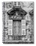 Old Yellow Building With Lace Curtain In Nice, France, Black And Spiral Notebook