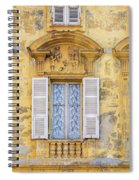 Old Yellow Building With Lace Curtain In Nice, France Spiral Notebook