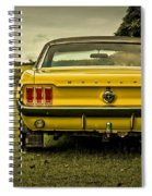 Old Yellow Mustang Rear View In Field Spiral Notebook