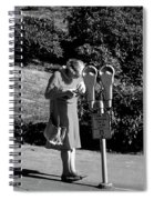 Older Woman Paying Parking Meter Spiral Notebook