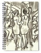 On The A, New York City Subway Drawing Spiral Notebook
