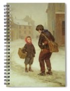 On The Way To School In The Snow Spiral Notebook
