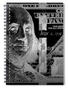 One Hundred Us Dollar Bill - $100 Usd In Silver On Black Spiral Notebook