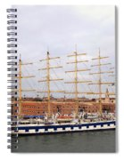 One Of Star Clipper's Masted Cruise Liners Docked In Venice Italy Spiral Notebook