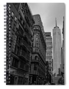 One World Trade Center New York Ny From Nassau Street Black And White Spiral Notebook