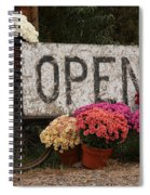 Open Sign With Flowers Fine Art Photo Spiral Notebook