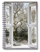 Open Window With Winter Scene Spiral Notebook