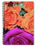 Orange And White With Pink Tip Roses Spiral Notebook