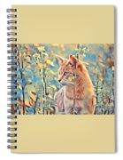 Orange Cat In Field Of Yellow Flowers Spiral Notebook