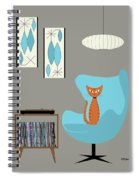 Orange Cat In Turquoise Egg Chair Spiral Notebook