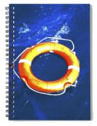 Orange Life Buoy In Blue Water Spiral Notebook