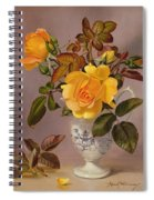 Orange Roses In A Blue And White Jug Spiral Notebook