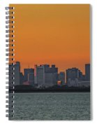 Orange Sky During Sunset With The Boston Skyline Spiral Notebook