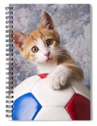 Orange Tabby Kitten With Soccer Ball Spiral Notebook
