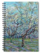 Orchard With Blossoming Plum Trees   Spiral Notebook