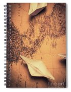 Origami Boats On World Map Spiral Notebook