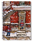 Original Paintings For Sale Montreal Petits Formats Verdun Duplex Et Hockey Paysage Quebec A Vendre Spiral Notebook