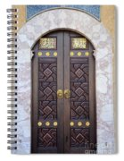 Ornately Decorated Wood And Brass Inlay Door Of Sarajevo Mosque Bosnia Hercegovina Spiral Notebook