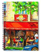 Outdoor Cafe On St. Denis In Montreal Spiral Notebook