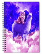 Outer Space Galaxy Kitty Cat Riding On Llama Spiral Notebook