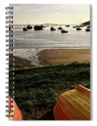 Overturned Boats On Shore Of Harbor Spiral Notebook