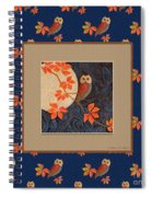 Owl And Moon On Midnight Blue Spiral Notebook