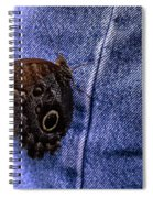 Owl Butterfly On Jeans Spiral Notebook
