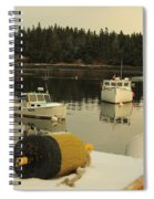 Owls Head Boats In The Snow Spiral Notebook