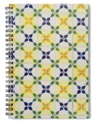 Painted Patterns - Floral Azulejo Tiles In Blue Green And Yellow Spiral Notebook