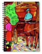 Paintings Of Montreal Streets Old Montreal With Flower Cart And Caleche By Artist Carole Spandau Spiral Notebook