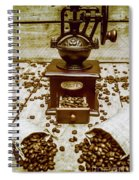 Pair Coffee Bean Bags Spilled In Front Of Grinder Spiral Notebook