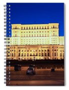 Palace Of Parliament At Night Spiral Notebook