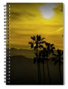 Palm Trees At Sunset With Mountains In California Spiral Notebook