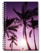 Palms And Pink Sunset Spiral Notebook