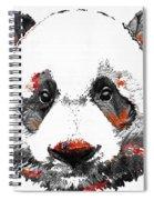 Panda Bear Art - Black White Red - By Sharon Cummings Spiral Notebook